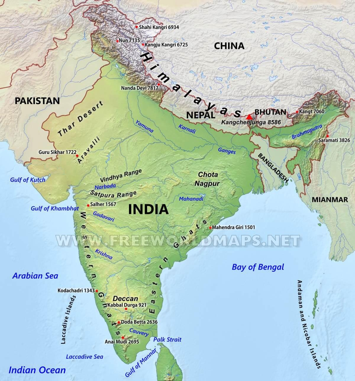 Hegyvonulatok India Terkep Hegyvonulatok Terkep India Del Azsia