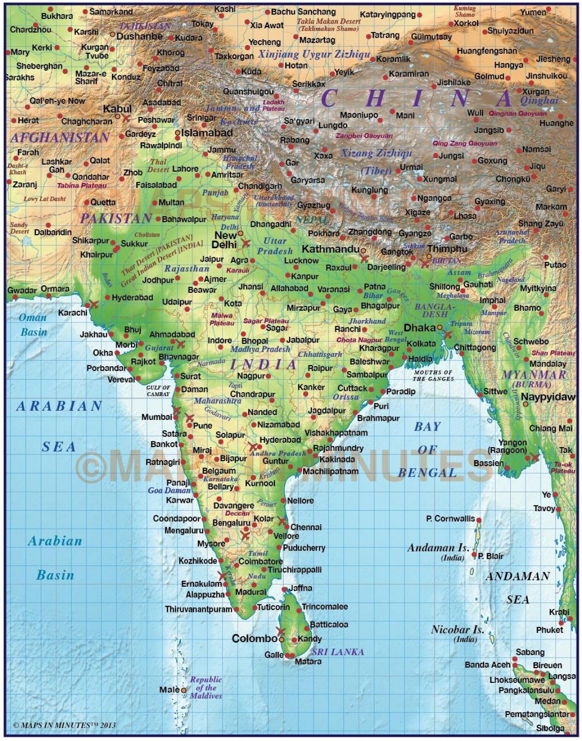 India Domborzati Terkep Domborzati Terkep India Del Azsia Asia
